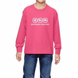 Neon Pink Fruit of the Loom Youth HD Long-Sleeve T-Shirt