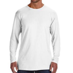 White Hanes Men's Nano-T Cotton Long Sleeve T-Shirt
