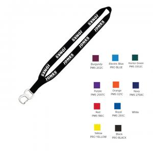 "3/4"" Smooth Nylon Sewn Lanyard with Metal Bottle Opener"