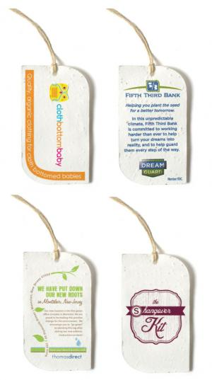 Curve Shaped Seed Paper Product Tag