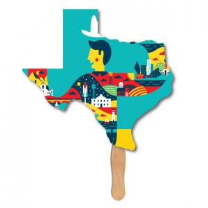 Texas State Shaped Hand Fan