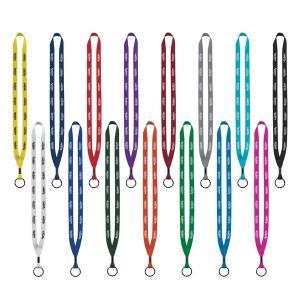 """1/2"""" Polyester Sewn Lanyard with Metal Crimp & Split Ring"""