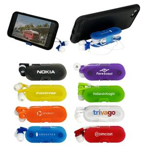 Translucent Ear Bud Wrap with Phone Stand