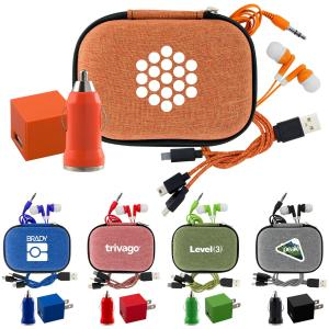 Travel Charger Set with Pouch and Ear Buds