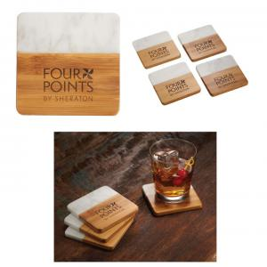 Blaire Marble and Bamboo coaster Set