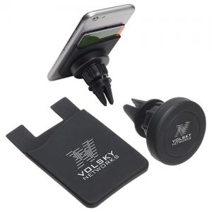 Store & Stand Wallet & Magnetic Car Mount Black