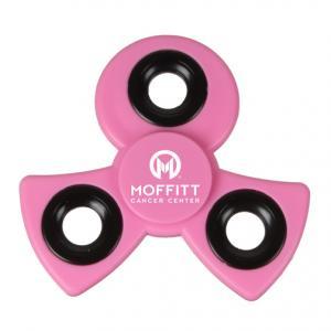 Pink Ribbon Shaped Awareness Spinner w/Black Rings