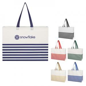 Non-Woven Horizontal Stripe Tote Bag
