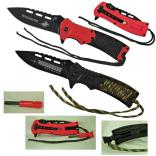 Folding Hunting Knife with Emergency Whistle & Fire Starter & Wrapped Paracord