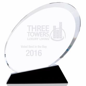 Small Oval Shape Crystal Award