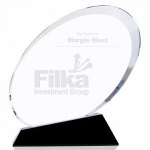 Medium Oval Shape Crystal Award