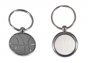 Promotional Metal Basketball Shaped Keychain with laser engraving