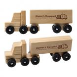 Wooden Semi Truck with Rolling Wheels