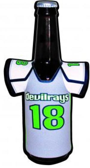 Jersey with Sleeves Shaped Sublimated Koozie