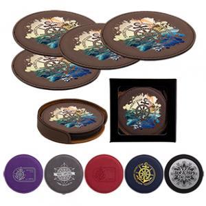 Leatherette Coaster Set