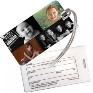 Vinyl Rectangular Luggage Tag with Plastic Sleeve