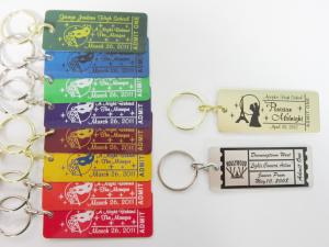 Color Coated Event Key Tag with Gold/Silver Keyring