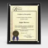 "8-1/2"" x 11"" Clear On Black Certificate Holder"