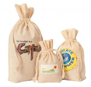 5.5 x 1.5 x 10 Gusseted Natural Cotton Drawstring Bag