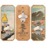 Bamboo Plaque Wall Mounted Bottle Opener