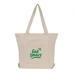 Natural Zippered Canvas Boat Tote
