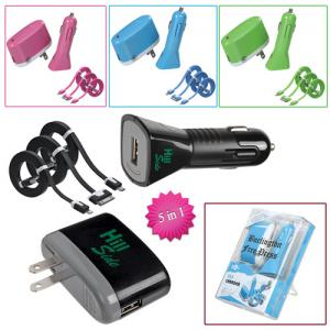 5 in 1 Car/Wall Travel Chargers with 3 Types of Data Cables