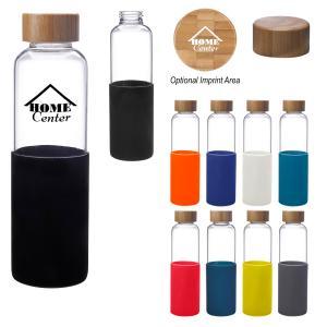 18 oz. Sleek Glass Bottle with Silicone Sleeve