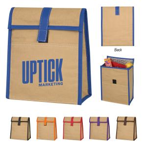 Color Trim Woven Paper Lunch Bag