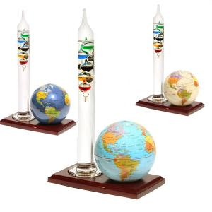 "4"" Globe with Wooden Base and 12"" Galileo Thermometer"