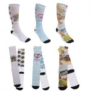 Full Color Crew Socks With Black Heel & Toe