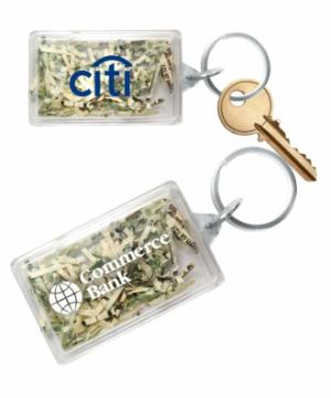 Shredded Currency Money Filled Rectangle Shaped Key Tag