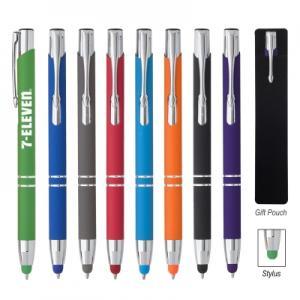 Plunger Action Rubberized Aluminum Stylus Pen