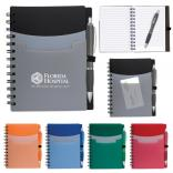 Triple Pocket Spiral Notebook with Pen