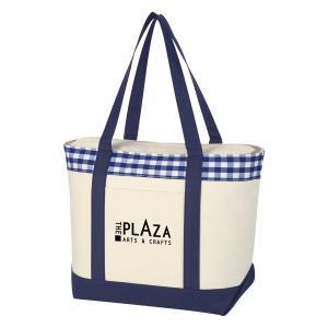 Plaid Strip Tote Bag