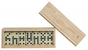 Dominoes in a Natural Wooden Box