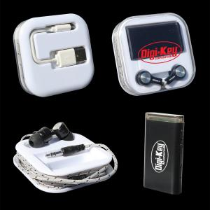Wireless Receiver with Earbuds in Case