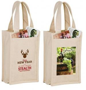 "7"" x 11"" Heavyweight Cotton 2 Bottle Wine Tote Bag"