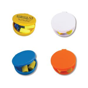 Corded Ear Plugs in Round Travel Case