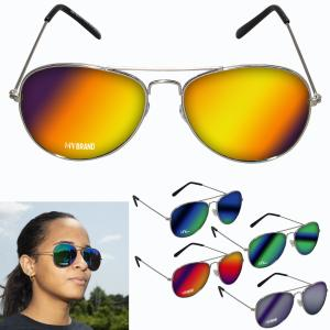 Metal Mirrored Aviator Style Sunglasses