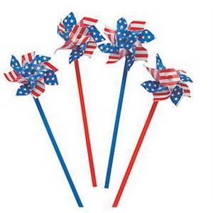 "4"" Patriotic Stars and Stripes Pinwheel"
