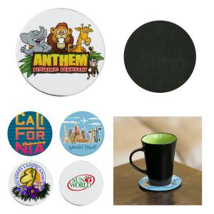 Round Neoprene Coaster with Rubber Backing