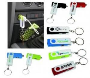 Swivel Keychain USB Car Charger
