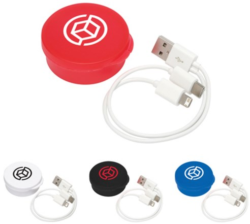 3-in-1 USB Cable in Round Case