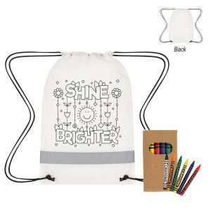 Reflective Coloring Drawstring Bag w/ Crayons