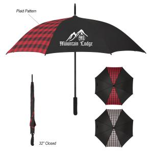 "46"" Arc Plaid Accent Umbrella"