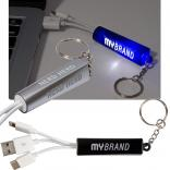 Light Up Logo Duo Cable Key Chain