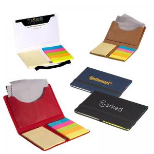 Business Card Sticky Notes Pack with Microfiber Cleaning Cloth