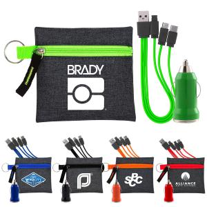 Type C USB Cable/Car Charger & Zippered Pouch Set