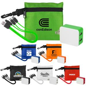 Dual Type C USB Cable & Ripstop Pouch Set