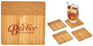 Four Piece Bamboo and Cork Coaster Set
